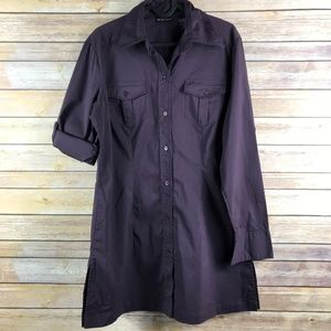 New York & Co Stretch Long Button Down (A115)